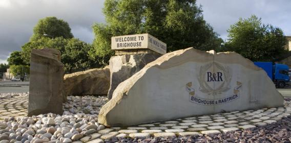 brighouse stone welcome sign
